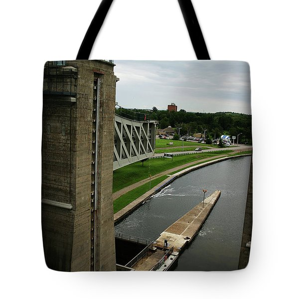 Tote Bag featuring the photograph Peterborough Lift Lock by Alyce Taylor