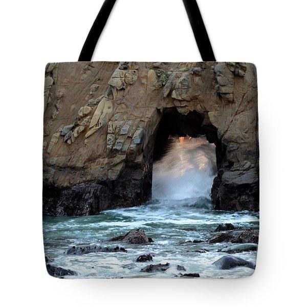 Pfeiffer Rock Big Sur 2 Tote Bag by Bob Christopher