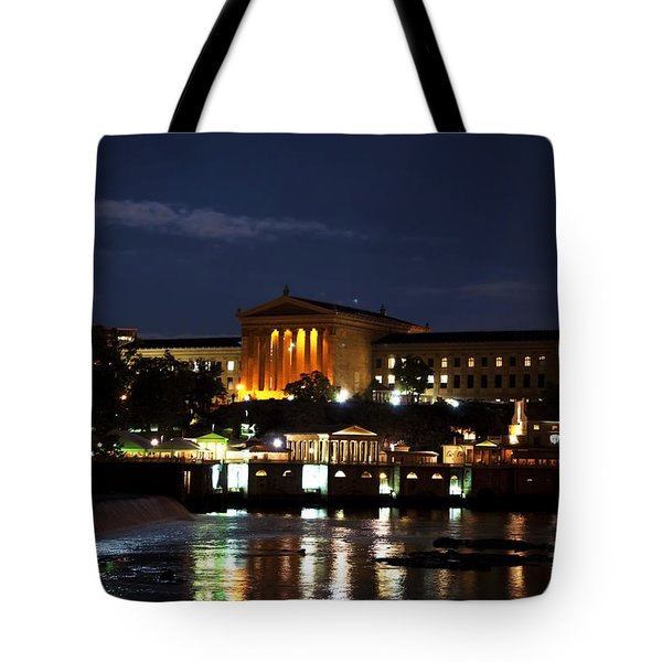 Philadelphia Art Museum And Waterworks All Lit Up Tote Bag by Bill Cannon