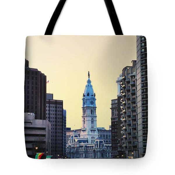 Philadelphia Cityhall At Dawn Tote Bag by Bill Cannon