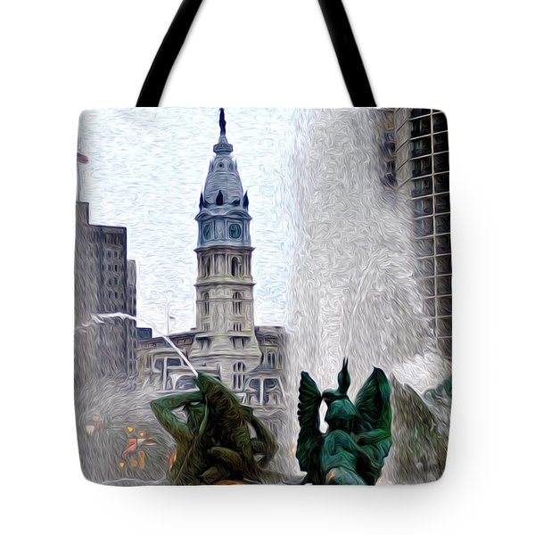 Philadelphia Fountain Tote Bag by Bill Cannon