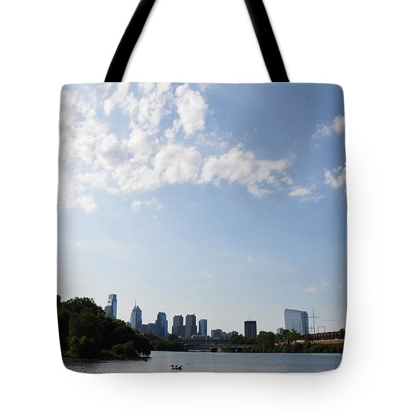 Philadelphia From Kelly Drive Tote Bag by Bill Cannon