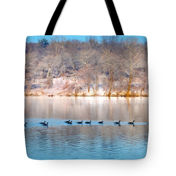 Philadelphia Winter Scene Tote Bag by Bill Cannon