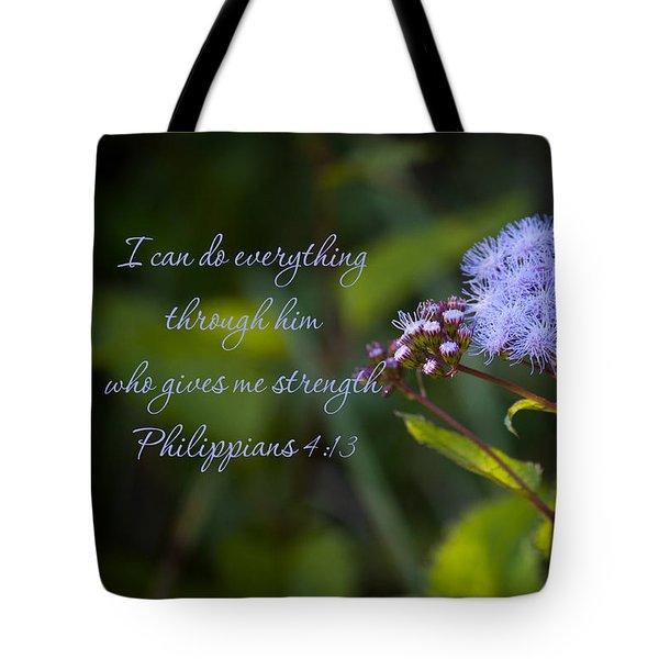 Philippians Verse Tote Bag