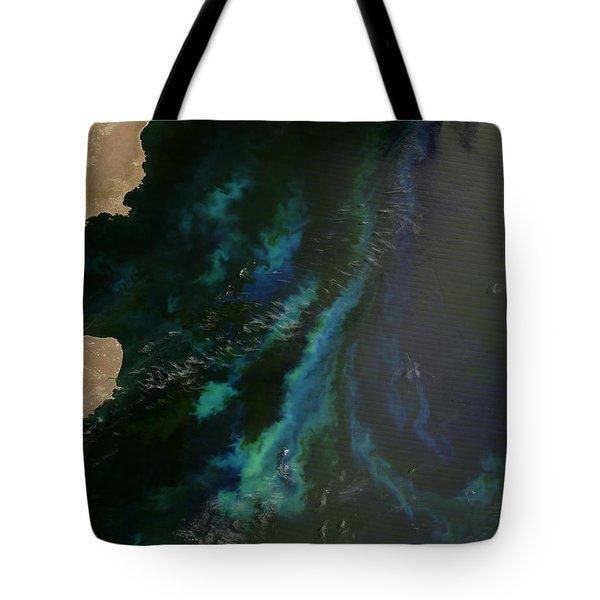 Phytoplankton Off Argentinas Coast Tote Bag by Nasa