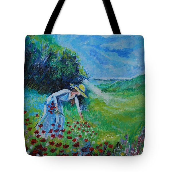 Tote Bag featuring the painting Picking Flowers by Leslie Allen