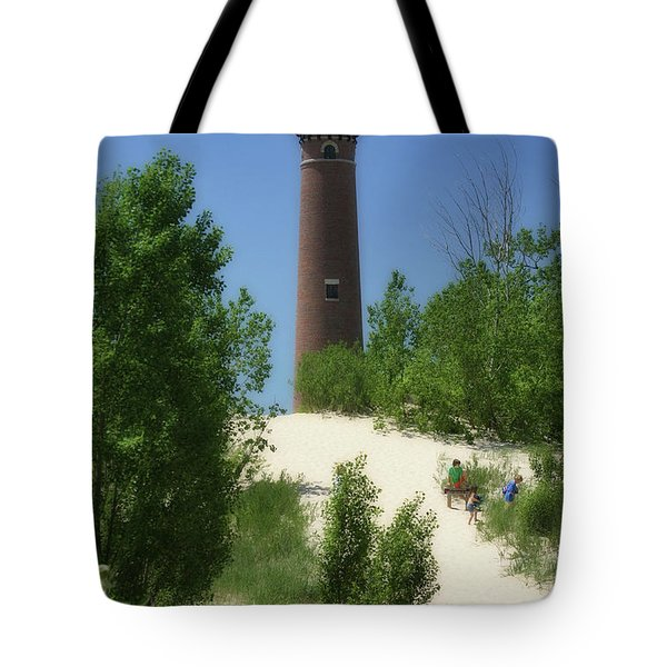 Tote Bag featuring the photograph Picnic By The Lighthouse by Joan Bertucci