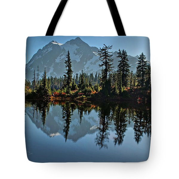 Tote Bag featuring the photograph Picture Lake - Heather Meadows Landscape In Autumn Art Prints by Valerie Garner