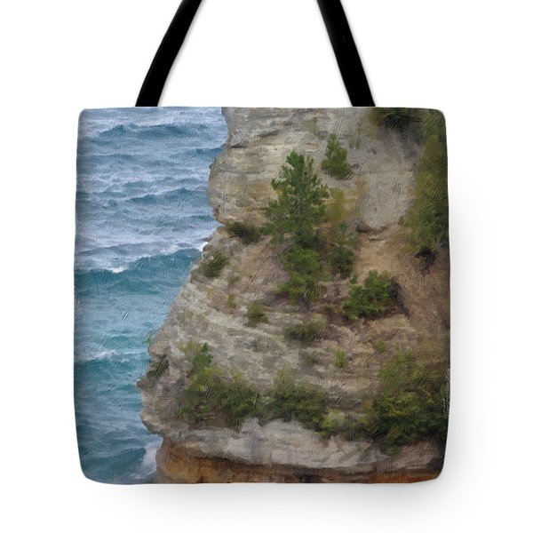 Tote Bag featuring the photograph Pictured Rocks In Oil by Deniece Platt