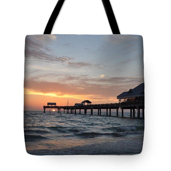 Pier 60 Clearwater Beach Florida Tote Bag by Bill Cannon