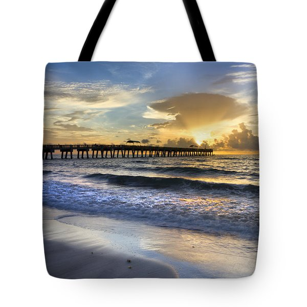 Pier Lights Tote Bag by Debra and Dave Vanderlaan