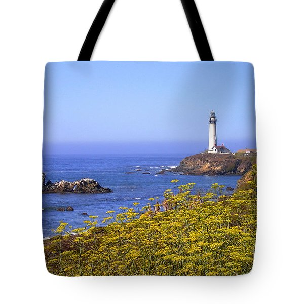 Pigeon Point Lighthouse California Coast Tote Bag by Mike Nellums