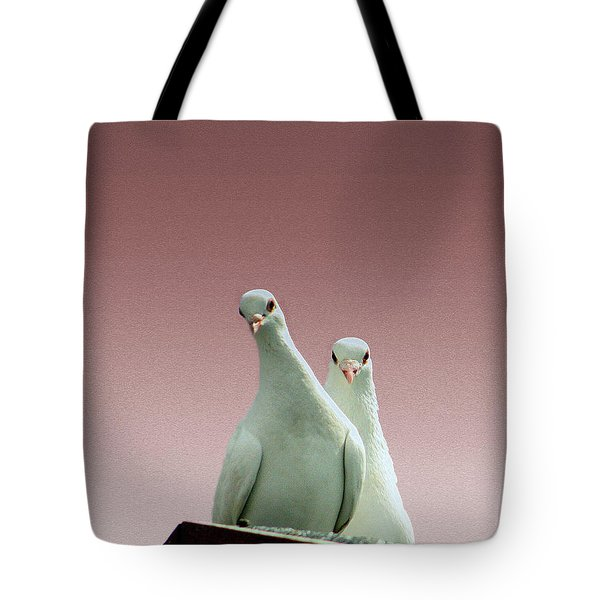 Pigeons In The Pink Tote Bag by Linsey Williams