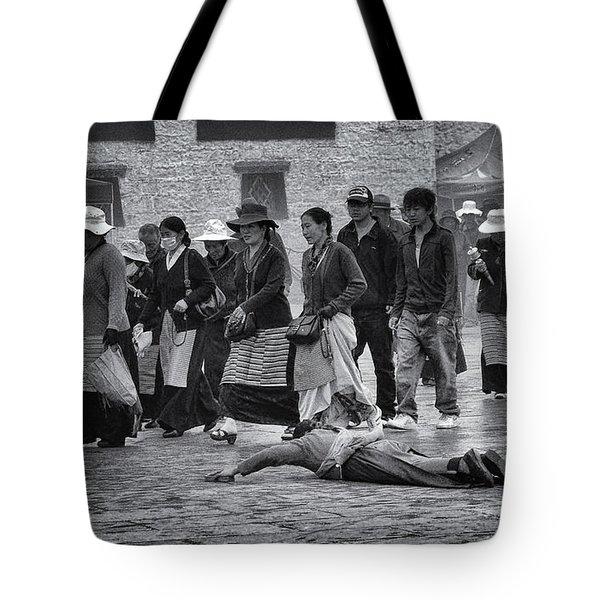 Pilgrim Prostration Tote Bag by Joan Carroll