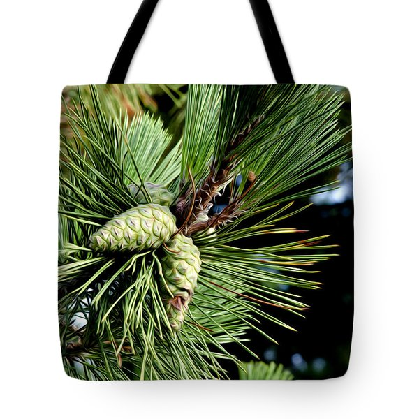 Pine Cones In A Pine Tree Tote Bag by Bill Cannon