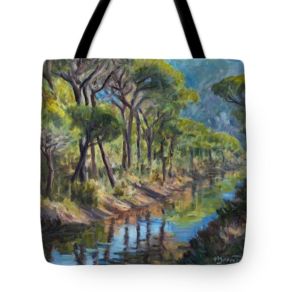 Pine Wood Reflections Tote Bag by Marco Busoni