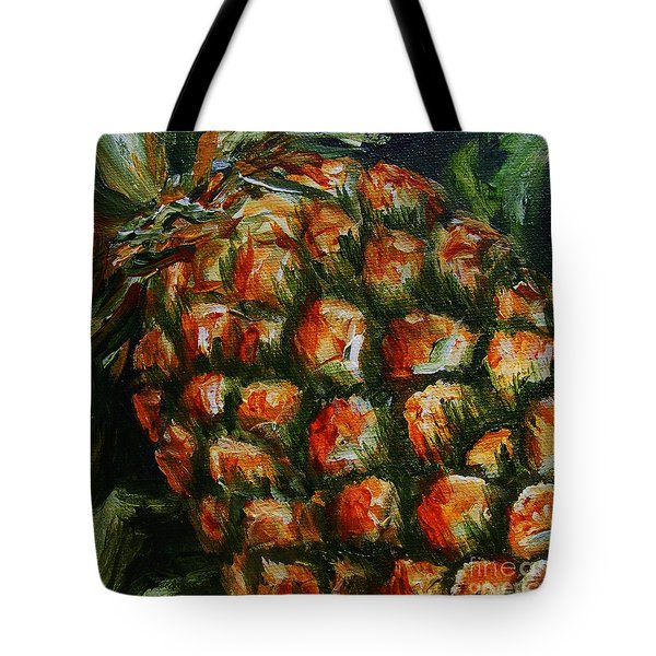 Tote Bag featuring the painting Pineapple by Karen  Ferrand Carroll