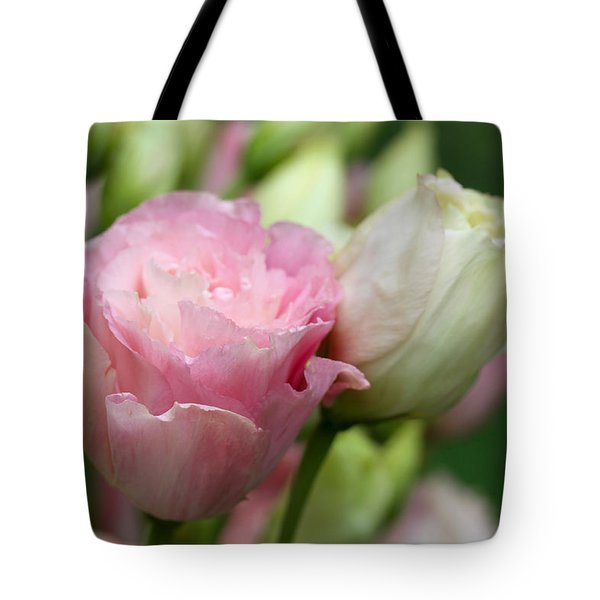 Pink And White Lisianthus Tote Bag