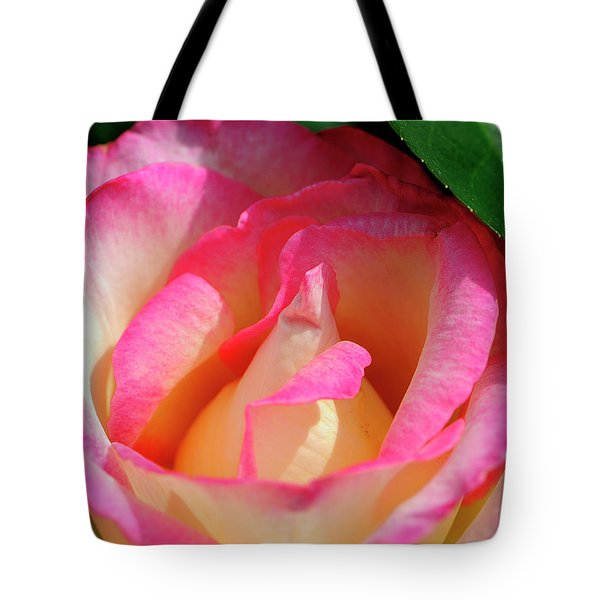 Pink And White Rose Tote Bag