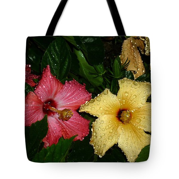 Tote Bag featuring the photograph Pink And Yellow Hibiscus After The Rain by Renee Trenholm
