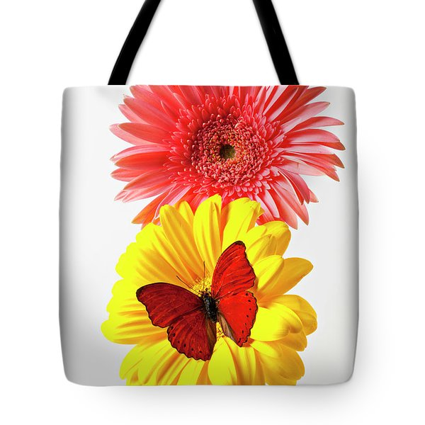Pink And Yellow Mums Tote Bag by Garry Gay