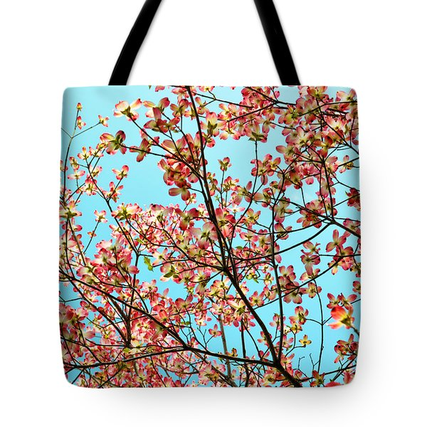 Pink Dogwood Sky Tote Bag by Debbie Portwood