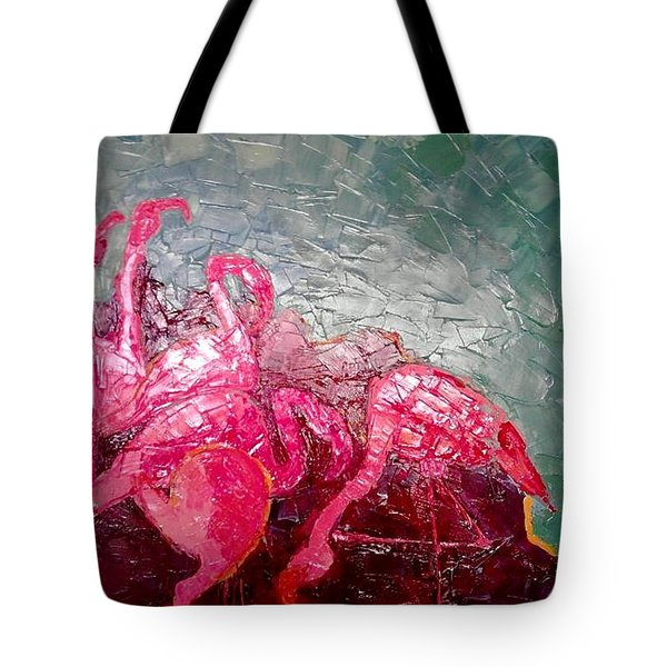 Tote Bag featuring the painting Pink Flamingoes by Ana Maria Edulescu