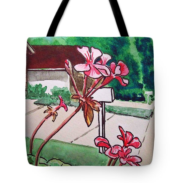 Pink Geranium Sketchbook Project Down My Street Tote Bag by Irina Sztukowski
