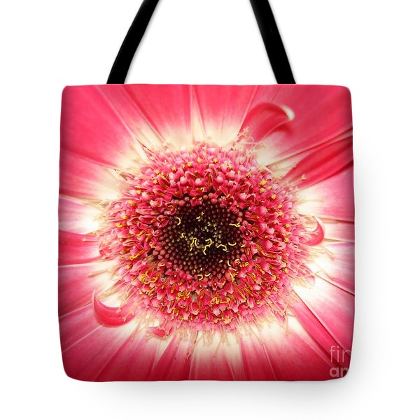 Tote Bag featuring the photograph Pink Gerbera Daisy Close-up by Kerri Mortenson