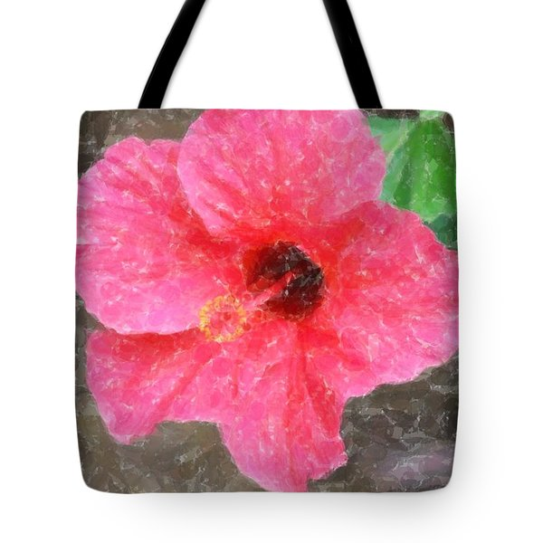 Tote Bag featuring the photograph Pink Hibiscus by Donna  Smith