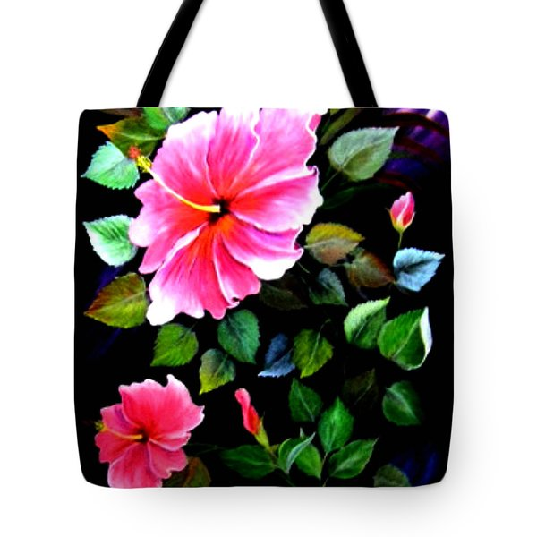 Tote Bag featuring the painting Pink Hibiscus by Fram Cama