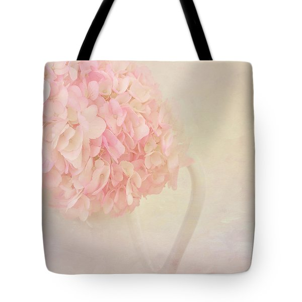 Pink Hydrangea Flowers In White Vase Tote Bag by Kim Hojnacki