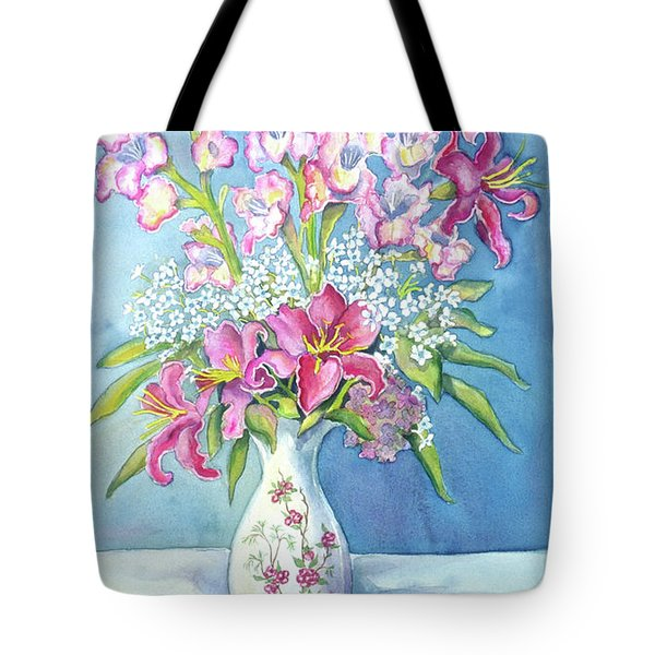 Pink Lillies In A Vase Tote Bag