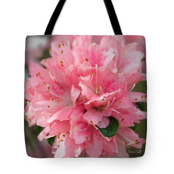 Pink On Pink Squared Tote Bag by Suzanne Gaff