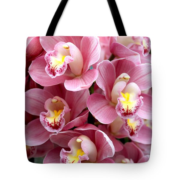Pink Orchids Tote Bag by Debbie Hart