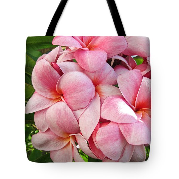 Tote Bag featuring the photograph Pink Plumerias by Shane Kelly