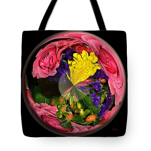 Pink Rose Globe Tote Bag by Phyllis Denton