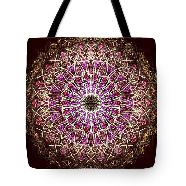 Pink Sun Mandala Tote Bag