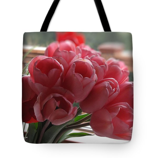 Tote Bag featuring the photograph Pink Tulips In Vase by Katie Wing Vigil