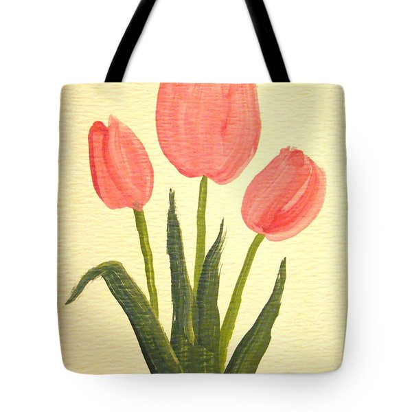Pink Tulips Tote Bag by Leea Baltes