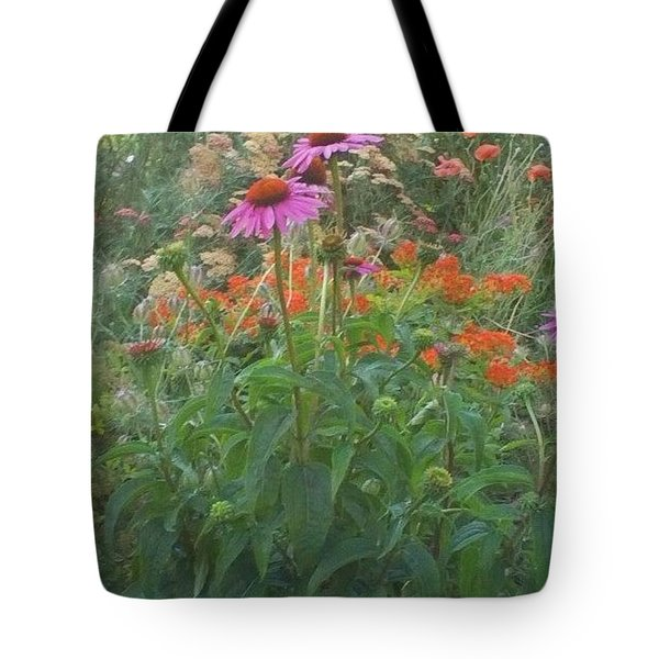Pinkviolet Dasies With Garden Flowers Tote Bag by Thelma Harcum