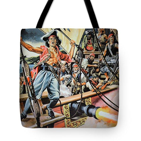 Pirates Preparing To Board A Victim Vessel  Tote Bag by American School