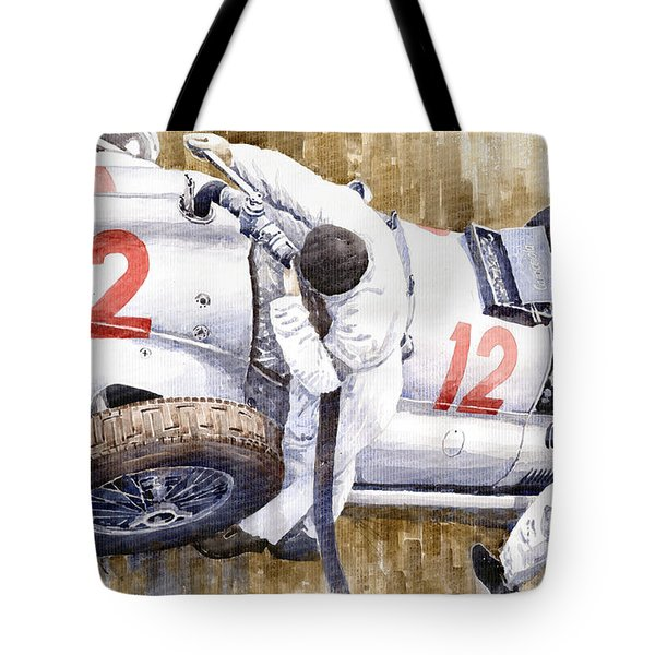 Pit Stop German Gp 1939 Mercedes Benz W154 Rudolf Caracciola Tote Bag