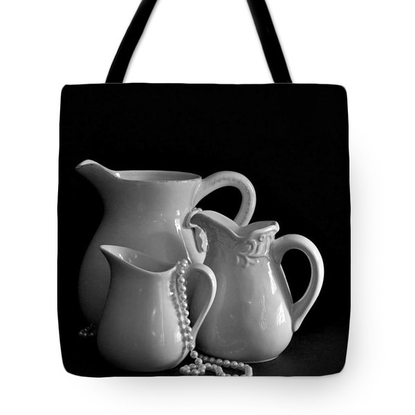 Pitchers By The Window In Black And White Tote Bag by Sherry Hallemeier