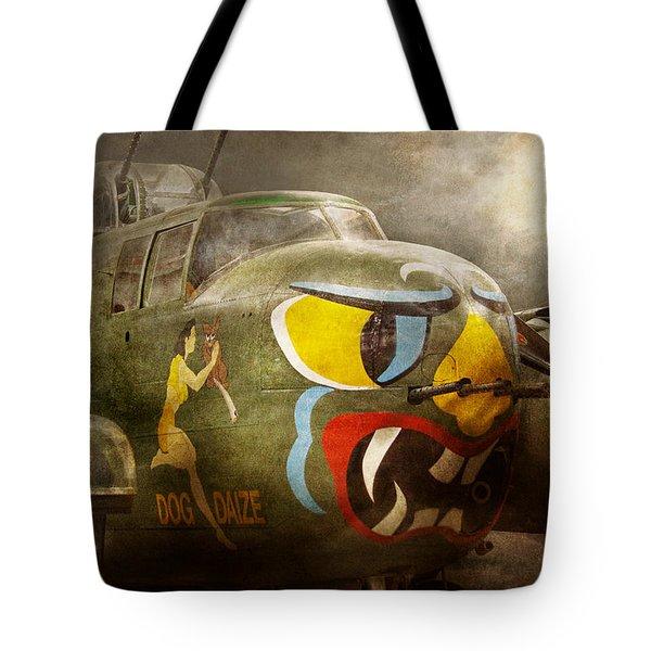 Plane - Pilot - Airforce - Dog Daize Tote Bag by Mike Savad