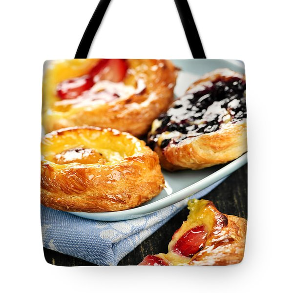 Plate Of Fruit Danishes Tote Bag by Elena Elisseeva