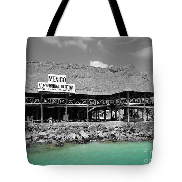 Tote Bag featuring the photograph Playa Del Carmen Mexico Maritime Terminal Color Splash Black And White by Shawn O'Brien
