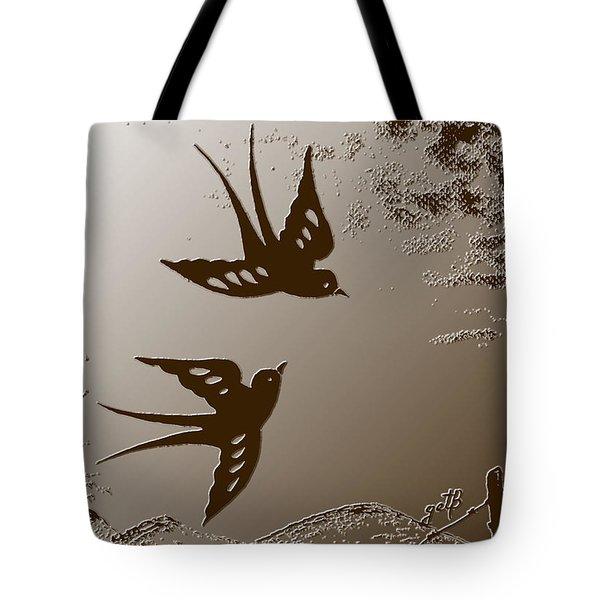 Playful Swalows Digital Art Tote Bag by Georgeta  Blanaru