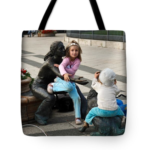 Playing On Sculpture Tote Bag by Sally Weigand