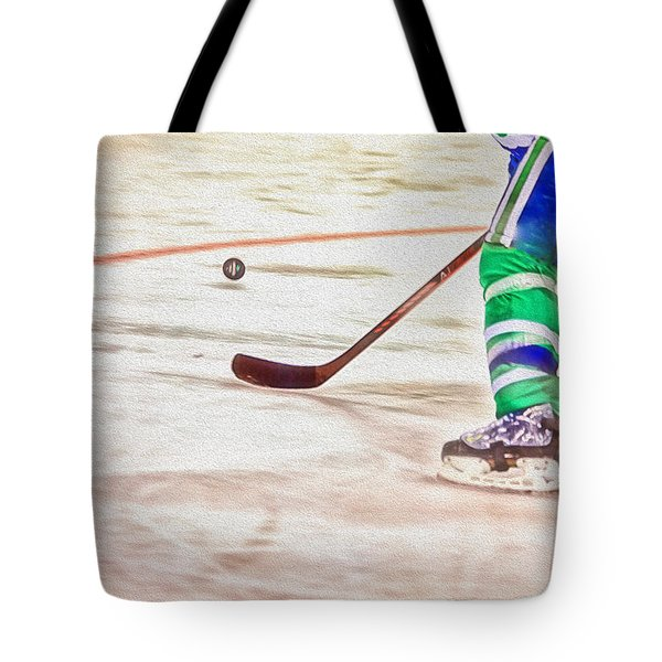 Playing The Puck Tote Bag by Karol Livote